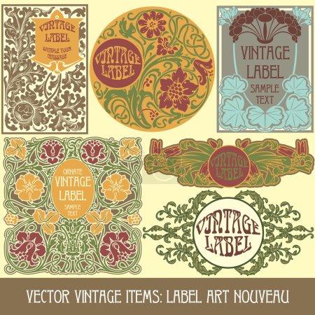 Illustration for Vector vintage items: label art nouveau - Royalty Free Image