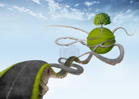 Photo pour Route de ciel suspendu à une oasis naturelle avec arbre - image libre de droit