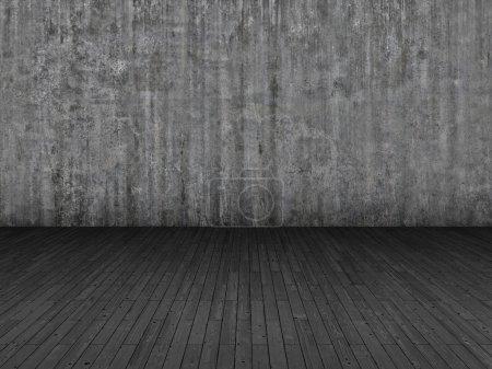 Foto de Piso de parquet y grunge fondo de pared de hormigón - Imagen libre de derechos