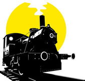 Silhouette of an old train Steam Locomotive - Retro Clip Vector;