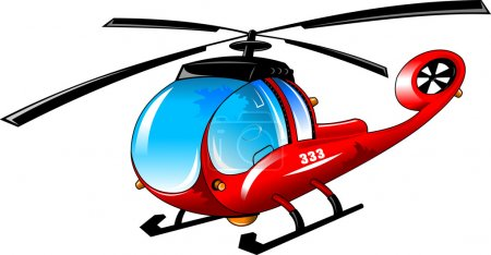 Illustration for Illustration of isolated cartoon helicopter on white background; - Royalty Free Image
