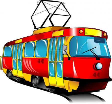 Illustration for Red toy tram rides on rails (vector illustration); - Royalty Free Image