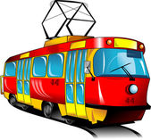 Red toy tram rides on rails (vector illustration);