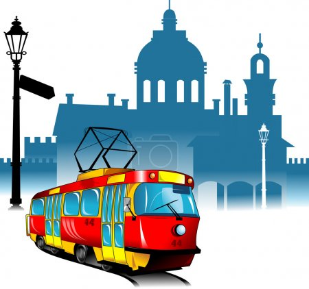Illustration for New tram rides through the old city quarter (vector illustration); - Royalty Free Image
