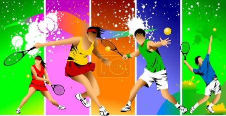 Illustration pour Joueur de tennis en couleur sur fond vert raquette frappe la balle ; - image libre de droit