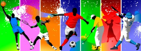 Illustration for Colored background with the image of athletes engaged in different sports; - Royalty Free Image