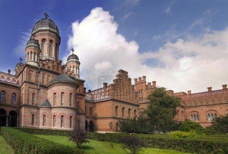 Landmark in Chernivtsi, Ukraine, orthodox church at University (the former Metropolitans residence)