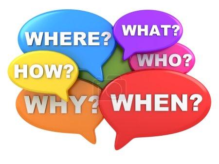 Photo pour Résumé de nombreuses questions (fait en 3d, fond blanc) - image libre de droit