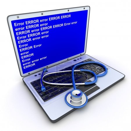 Photo for Laptop error and stethoscope (done in 3d) - Royalty Free Image