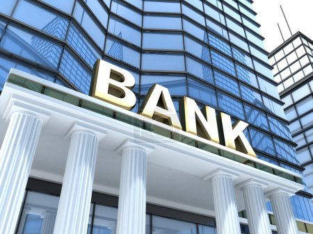 Photo for Building and sign bank (done in 3d) - Royalty Free Image