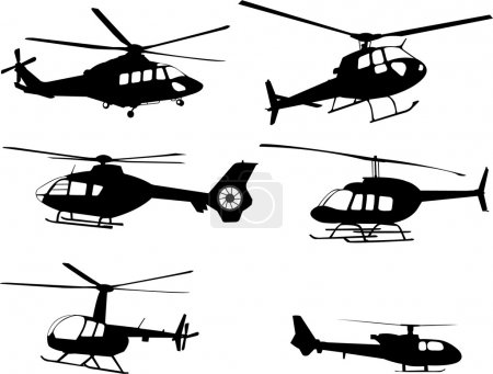 Illustration for Helicopters silhouettes - vector - Royalty Free Image