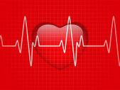 Lesklý kardiogram sklo červené srdce