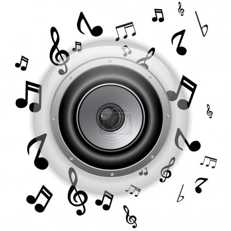 Speaker Glass Button with Music Notes