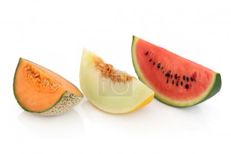 Melon slices of cantaloupe, honeydew and red water...