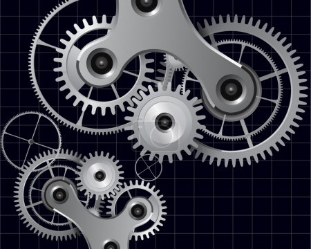 Illustration for Technology background with metal gears and cogwheels, vector. - Royalty Free Image