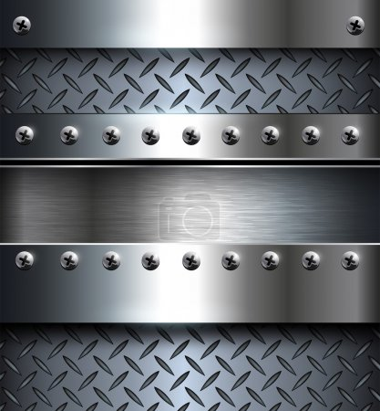 Illustration for Technology background, metallic with screws. - Royalty Free Image