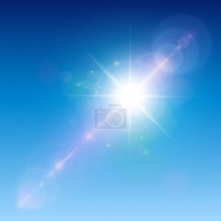 Illustration for Sun with lens flare, vector background. - Royalty Free Image