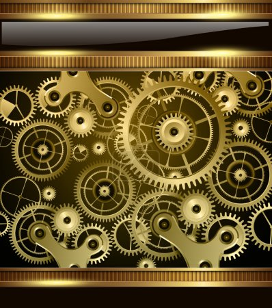 Illustration pour Abstract machines de technologie fond or, vector. - image libre de droit