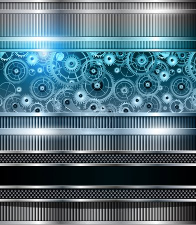 Illustration for Abstract technology background blue metallic machinery, vector. - Royalty Free Image