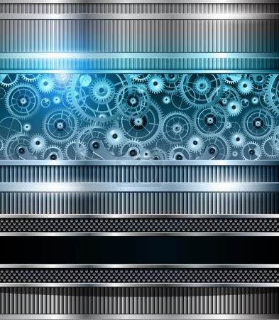 Illustration pour Technologie abstraite fond bleu machines métalliques, vecteur . - image libre de droit