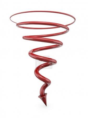 rote Spirale mit Pfeil
