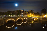 Amsterdam canal on night panorama