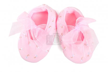 Photo for Pair of pink ballerina shoe close-up on white background - Royalty Free Image