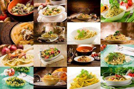 Photo pour Collage de diverses photos de délicieux plats de pâtes italiennes - image libre de droit