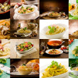 Collage of various photo of delicious italian past...