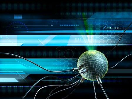 Photo pour Fond de haute technologie avec quelques fils connectés à une sphère lumineuse. Illustration numérique . - image libre de droit
