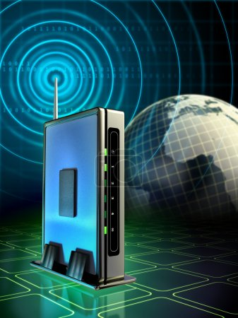 Photo for Stylish wireless router with radio waves originating from its antenna. Digital illustration - Royalty Free Image
