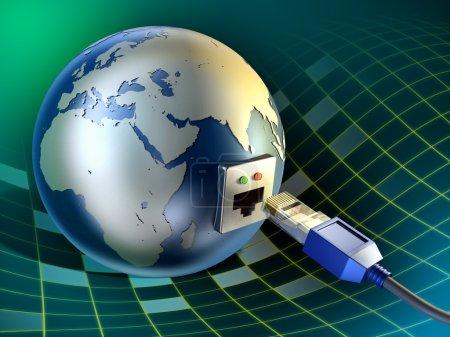 Photo pour Un câble Ethernet inséré dans la Terre. Illustration numérique . - image libre de droit