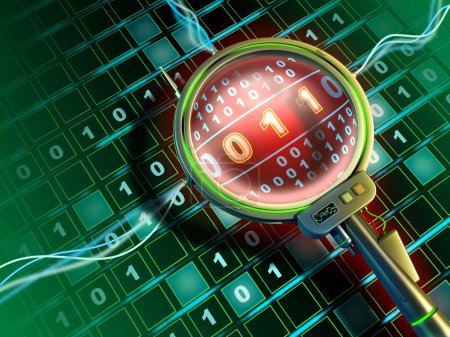 Photo pour L'objectif high-tech scanne un flux de données binaires. Illustration numérique . - image libre de droit