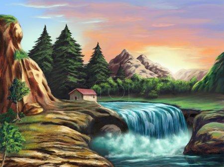 Photo pour Cascade dans un paysage imaginaire au coucher du soleil. Illustration numérique originale . - image libre de droit