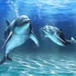 Two dolphins happily swimming in the ocean. Digita...