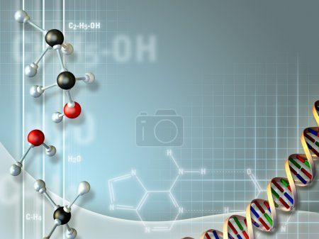 Photo for Nice composition of objects related to the biochemical field, suitable to use as a background. Digital illustration. - Royalty Free Image