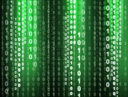Photo pour Code binaire coulant sur un fond vert. Illustration numérique . - image libre de droit