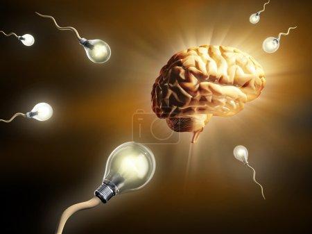 Photo for Light bulbs as sperm cells, as they fly toward an human brain. Digital illustration. - Royalty Free Image