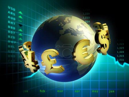 Photo pour Symboles de devise se déplaçant autour de la planète Terre. Illustration numérique . - image libre de droit