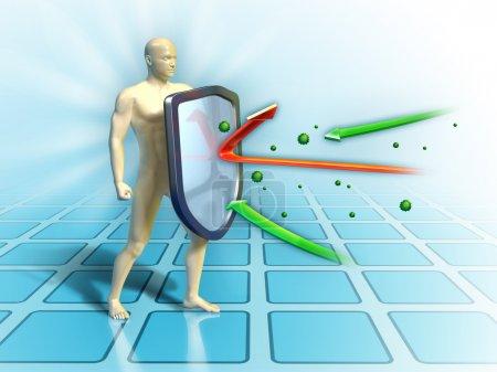 Photo pour Système immunitaire défend le corps humain contre les attaques extérieures. illustration numérique. - image libre de droit