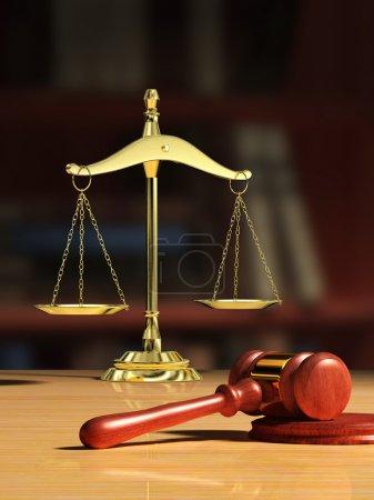 Photo pour Balance Justice et marteau en bois, étagère visible sur fond. Illustration numérique . - image libre de droit