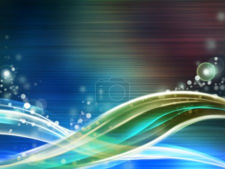 Foto de Fondo de alta tecnología con algunas ondas y efectos de destello de lente. Ilustración digital. - Imagen libre de derechos
