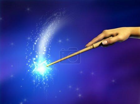 Photo pour Main féminine à l'aide d'une baguette magique. Illustration numérique . - image libre de droit