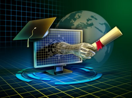 Photo for Android hand emerges from a monitor and delivers a diploma. Digital illustration. - Royalty Free Image
