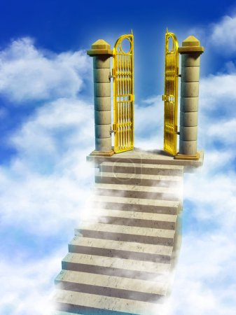 Photo for Marble stairs and golden gates lead you to Paradise. Digital illustration. - Royalty Free Image
