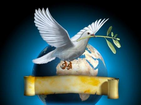 Photo pour Colombe blanche portant une branche d'olivier comme symbole de paix. La Terre et une vieille bannière en arrière-plan. Espace de copie sur la bannière pour insérer votre propre texte. Illustration numérique . - image libre de droit