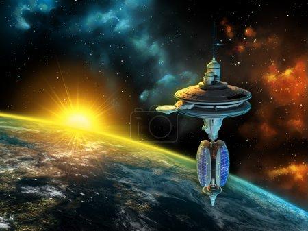 Photo pour Station spatiale sur un magnifique panorama spatial. Illustration numérique . - image libre de droit
