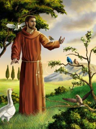 Photo pour Saint François prêchant aux oiseaux dans un paysage magnifique. Illustration numérique . - image libre de droit