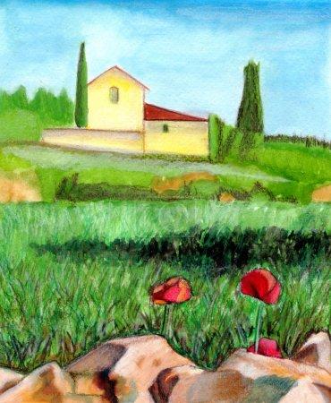 Photo pour Aquarelle paysage. adapté aux étiquettes de vin. - image libre de droit
