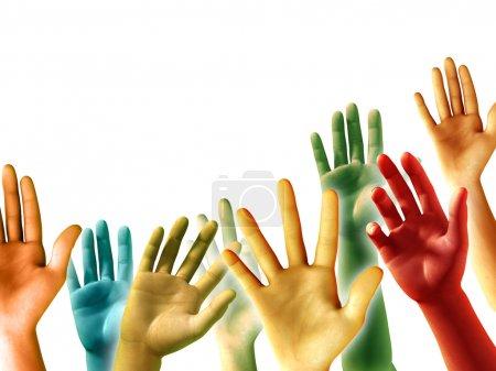 Photo pour Mains surélevées multicolores sur fond blanc, surface disponible. illustration numérique. - image libre de droit